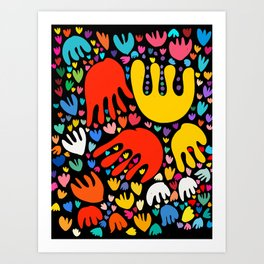 Abstract Flowers Pattern Colorful Art by Emmanuel Signorino  Art Print