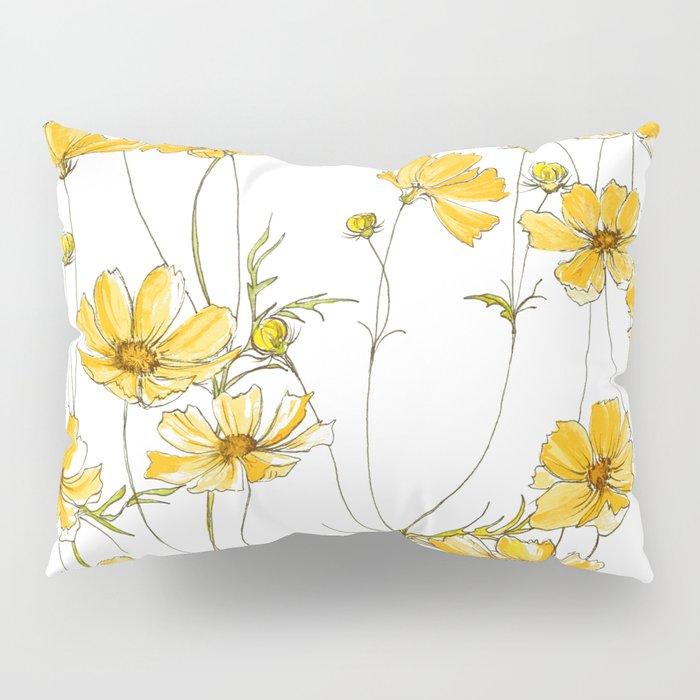 Yellow Cosmos Flowers Pillow Sham
