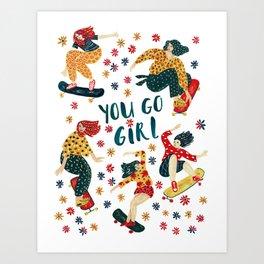 Skaters Girls Art Print