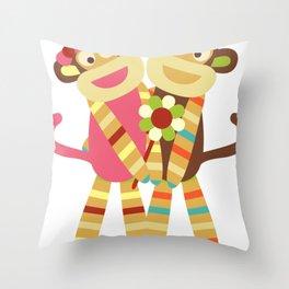 Sock Monkey Friends Throw Pillow