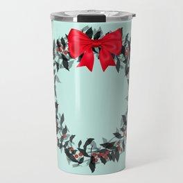 Christmas Wreath with Red Bow #Christmas #holidays Travel Mug