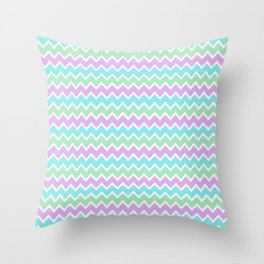 Turquoise Aqua Blue and Light Purple Lavender and Mint Green Throw Pillow