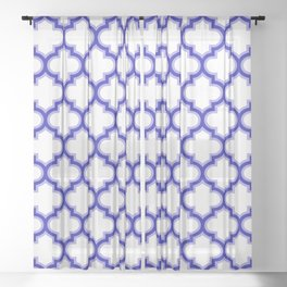 Moroccan Lattice, Oriental Pattern, seamless Morocco Design, blue, white Sheer Curtain