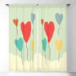 Heart Balloons above the Clouds Blackout Curtain