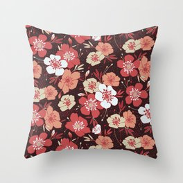Coral flower pattern Throw Pillow