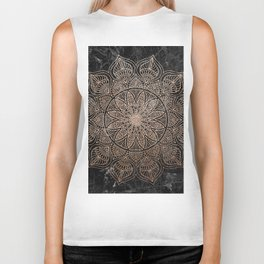 Mandala - rose gold and black marble 4 Biker Tank