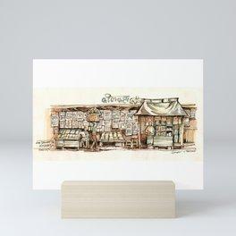 Kolkata India Sketch in Watercolor   City View   Street Newsstand   Calcutta West Bengal Mini Art Print