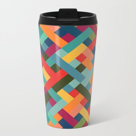 Weave Pattern Metal Travel Mug