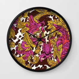 Cowsace baroque fuscia and gold design over spotted cowhide Wall Clock