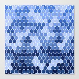 Honeycomb Blue Pattern   Geometric Shapes   Home Decor   Sapphire   For Him   For Her Canvas Print