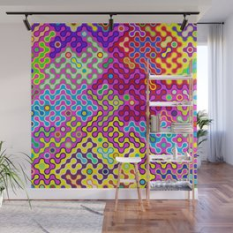 Abstract Psychedelic Pop Art Truchet Tile Pattern Wall Mural