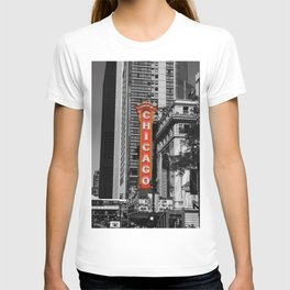 Black and White with Red Chicago Theatre sign Photography T-shirt