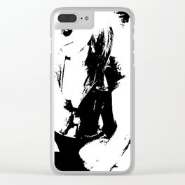 Black and white Girl Clear iPhone Case