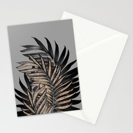 Gray Black Palm Leaves with Gold Glitter #1 #tropical #decor #art #society6 Stationery Cards