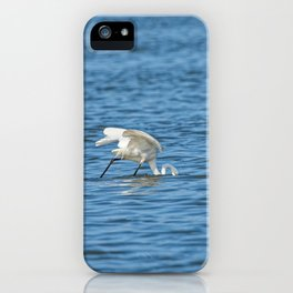 eastern great egret fishing in the sea (Japan) iPhone Case