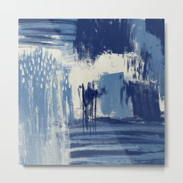 Abstract Blue and Ivory Metal Print