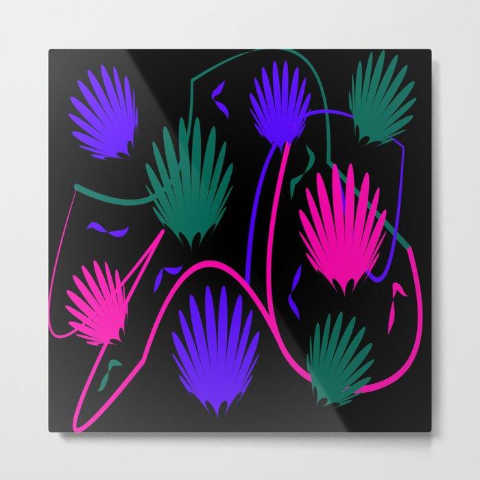 Neon Colorful Palm Metal Print