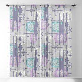 Retro Atomic Mid Century Pattern Grey Teal Blue and Lavender Sheer Curtain