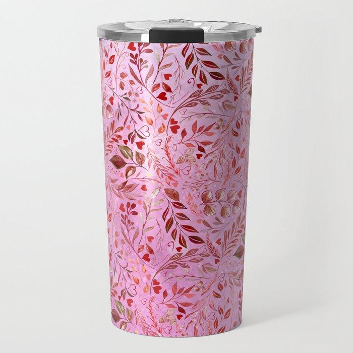 Gorgeous Red Flourish in Glamour Pink Travel Mug