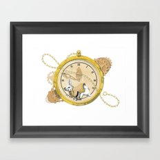 White Rabbit in the Race to the Scoop Framed Art Print