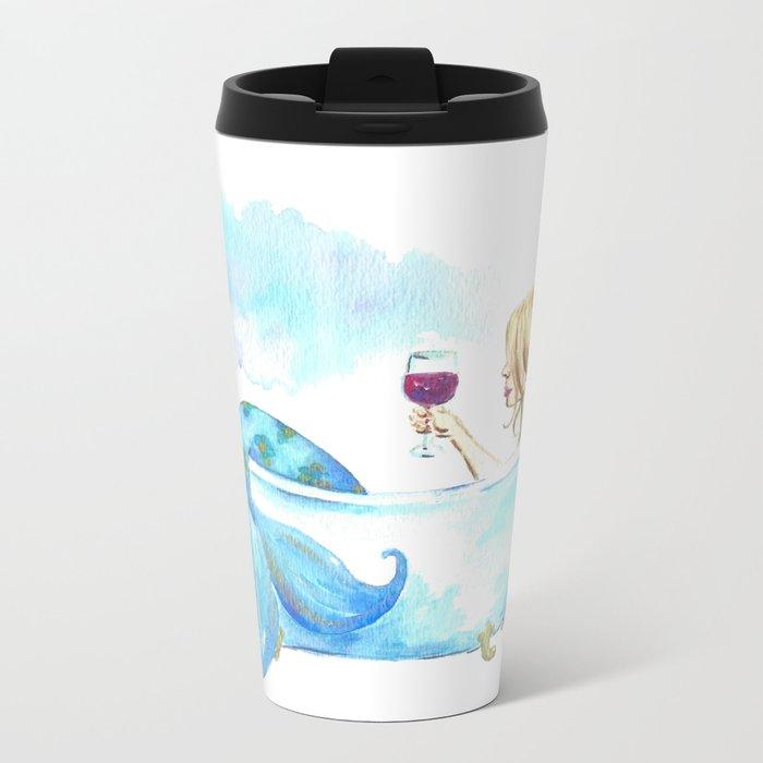 Bathtub Mermaid Metal Travel Mug