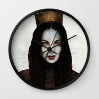 queen Wall Clocks featuring Queen by Feline Zegers