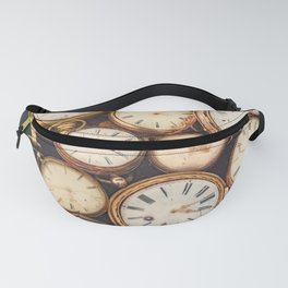 Old scratched and run down pocket watches Fanny Pack