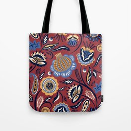 Abstract burgundy navy blue autumn floral Tote Bag