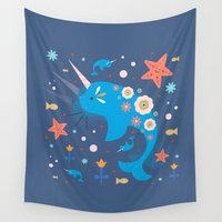 narwhal Wall Tapestries featuring Narwhal & Babies  by Carly Watts