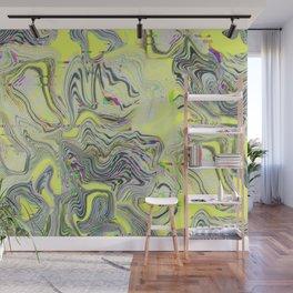 Acid yellow Neon Glitch pattern Wall Mural