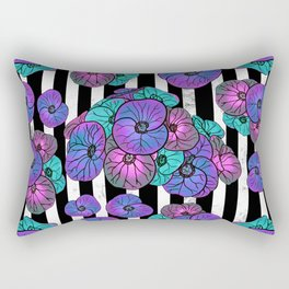 Florals over black and white stripes Rectangular Pillow