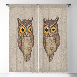 Great horned owl on cardboard Blackout Curtain