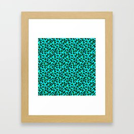 Aqua Leopard Spots Animal Print Pattern Framed Art Print