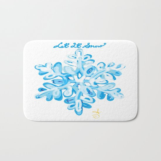 Let It Snow Snowflake Painting Bath Mat