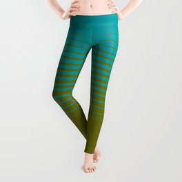 gradient stripes aqua olive Leggings