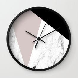 Pink, Black and Marble Geometric Wall Clock