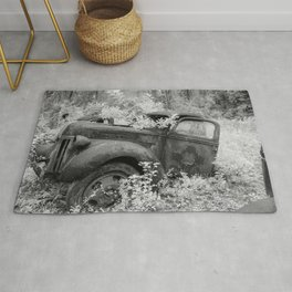 Rusting Pickup with Tree Grown in Cab Black and White Infrared Rug