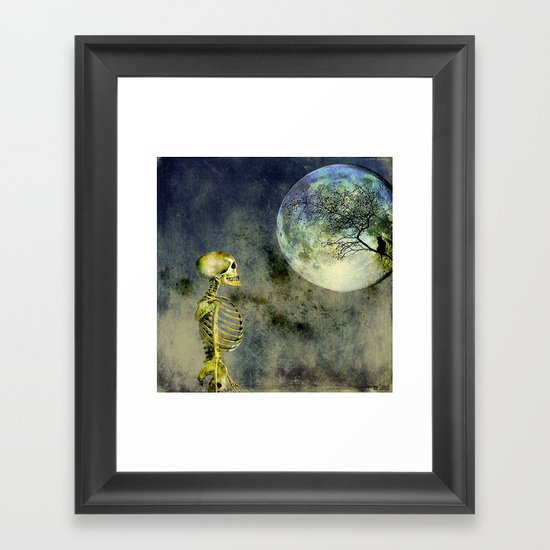 Skeleton in clear of the moon Framed Art Print