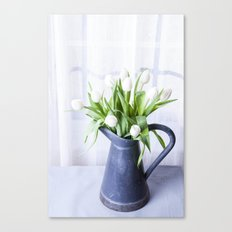 A Pitcher of Tulips - White Flowers Canvas Print