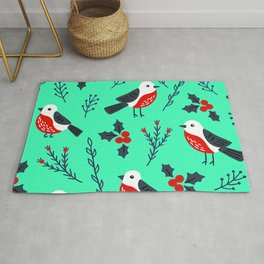Christmas Holidays Bird Pattern With Holly Sprigs Rug