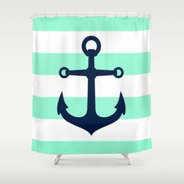 NAVY ANCHOR ON MINT Shower Curtain