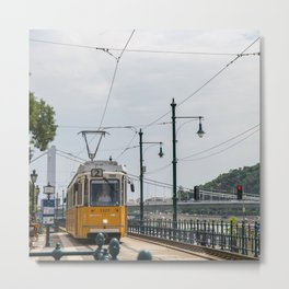 Yellow Budapest Tram Photography Metal Print