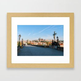 View of the Castle from Charles bridge in Prague Framed Art Print