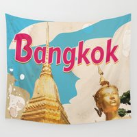 travel poster Wall Tapestries featuring Bangkok Vintage Travel Poster by Nick's Emporium Gallery