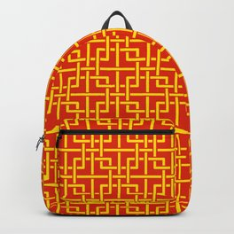 Tangled squares Chinoiserie in Chinese flag's colors Backpack