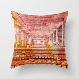 Abandoned Silk Mill - Pastel Grunge Throw Pillow