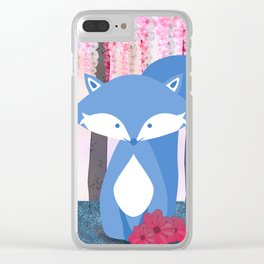 Cute Nursery Fox Flowers Design Clear iPhone Case