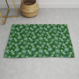 Festive Snowflakes in Green and Gold Rug