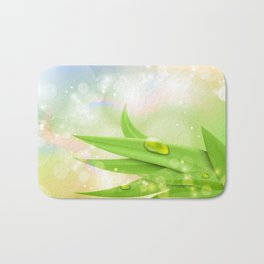 pastel colors with green grass and dew Bath Mat