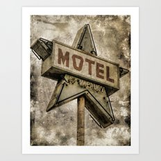 Vntage Grunge Star Motel Sign Art Print